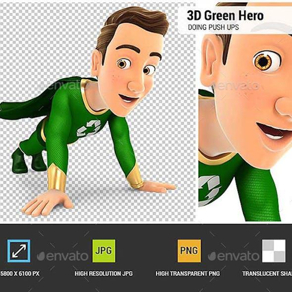 3D Green Hero Doing Push-Ups
