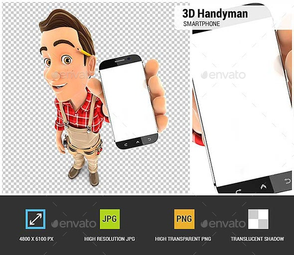 3D Handyman Holding Smartphone - Characters 3D Renders