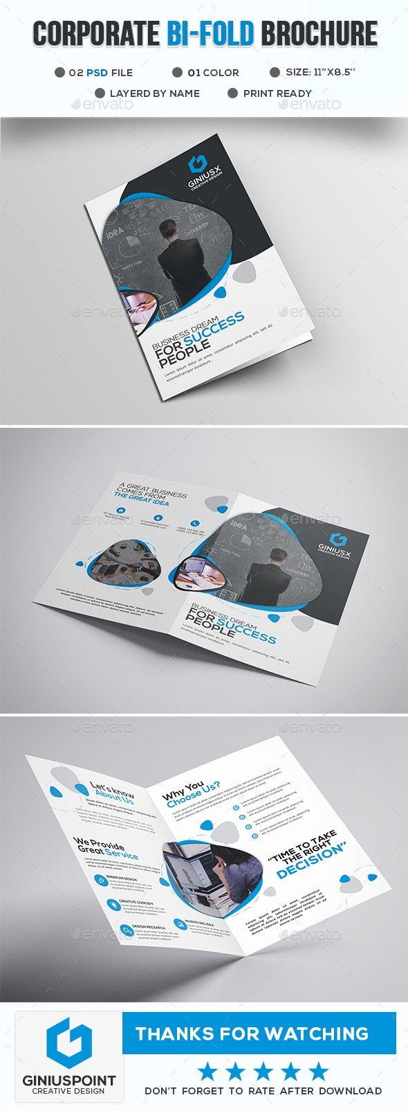 Corporate Bi-Fold Brochure - Brochures Print Templates