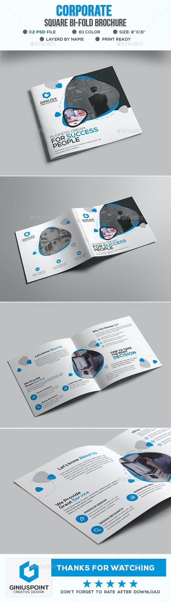 Corporate Square Bi-Fold Brochure - Brochures Print Templates