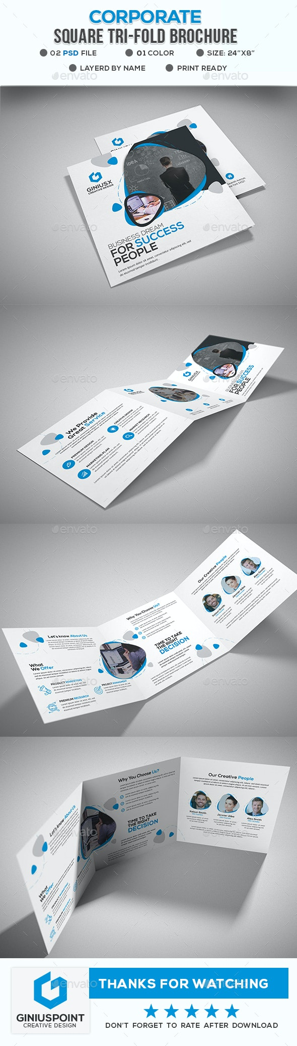 Corporate Square Tri-Fold Brochure - Brochures Print Templates