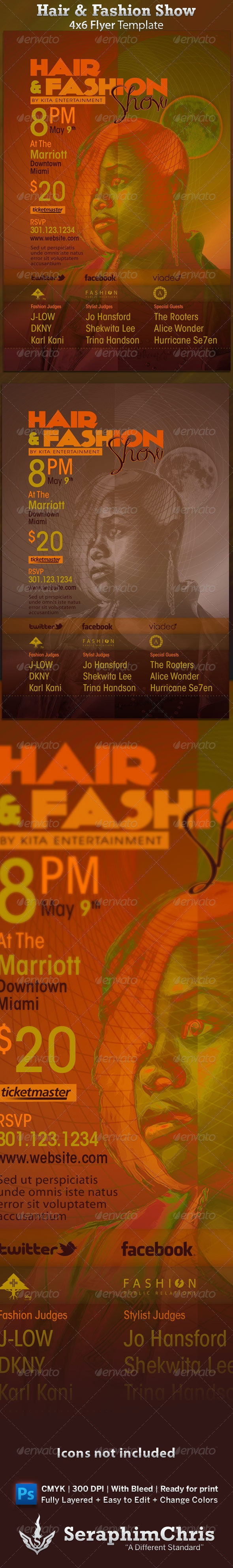 Hair & Fashion Show Flyer Template - Clubs & Parties Events