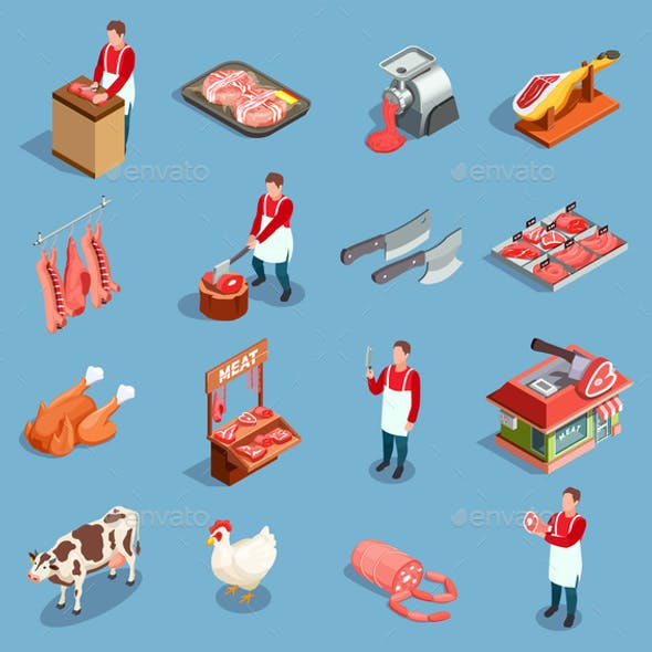 Meat Market Icon Set