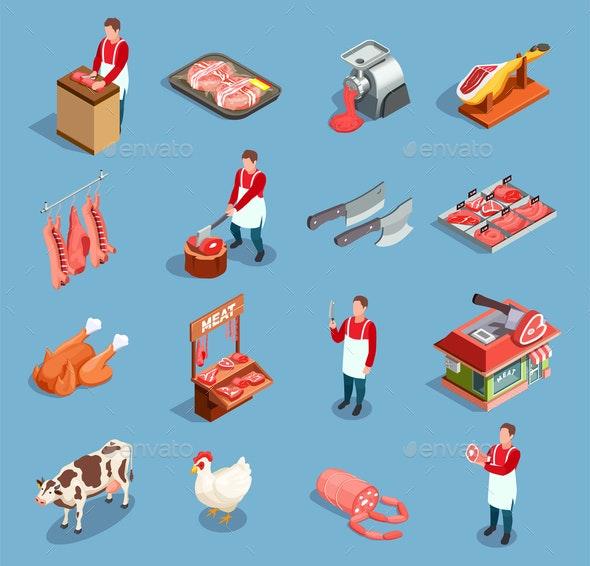 Meat Market Icon Set - Food Objects
