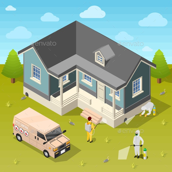 House Disinfection Isometric Background - Buildings Objects