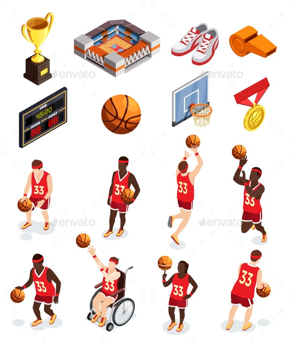 Basketball Elements Icon Set - Sports/Activity Conceptual