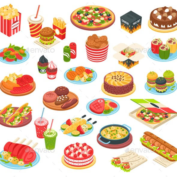 Fast Food Isometric Set