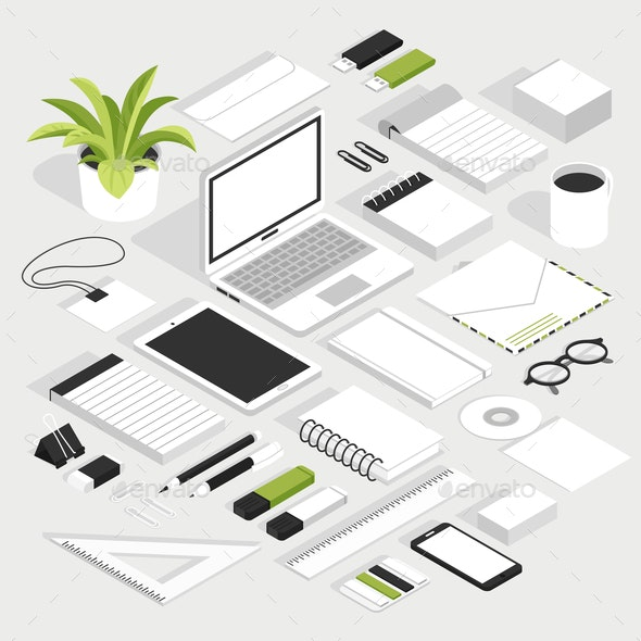 Stationary Isometric White Set - Miscellaneous Vectors