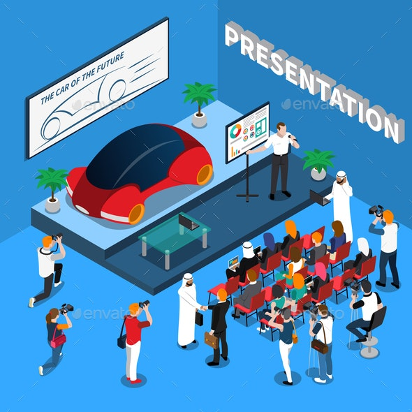 Car Presentation Isometric Composition - People Characters