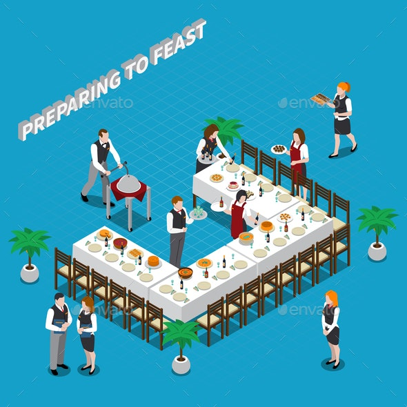 Preparing to Feast Isometric Composition - Food Objects