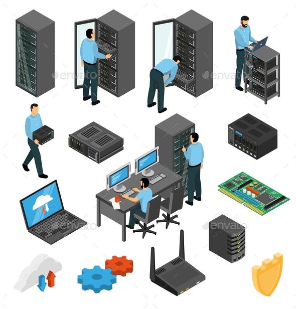 Datacenter Equipment Isometric Set - People Characters