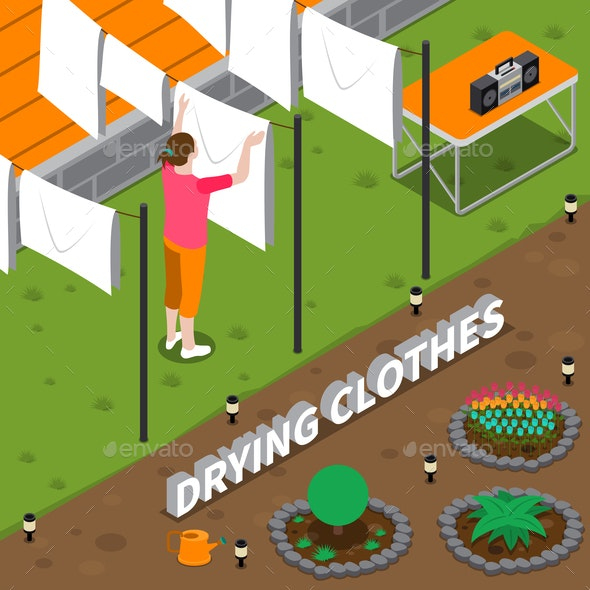 Drying Clothes Isometric Composition - People Characters