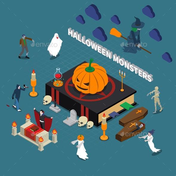 Monster Halloween Isometric Composition - Seasons/Holidays Conceptual