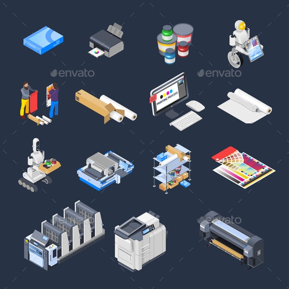 Printing Isometric Icons Collection - Business Conceptual
