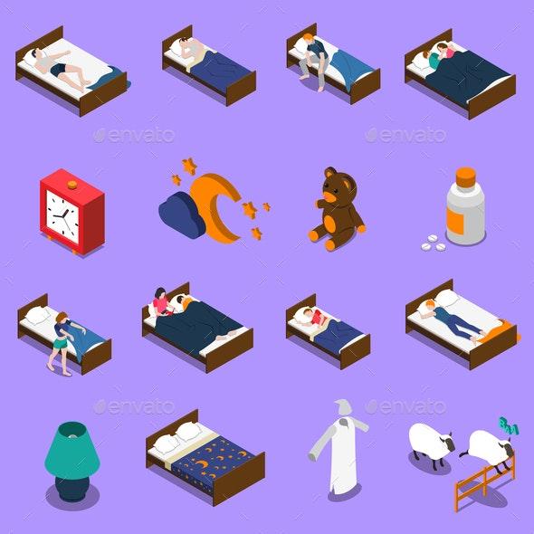 Sleep Time Isometric Icons Set - People Characters