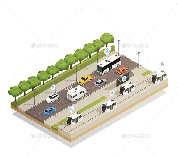 Smart City Traffic Isometric  Composition - Computers Technology