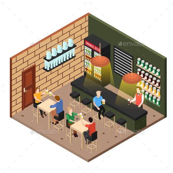 Isometric Beer Shop