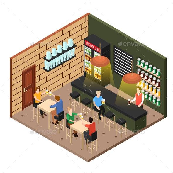 Isometric Beer Shop - Industries Business
