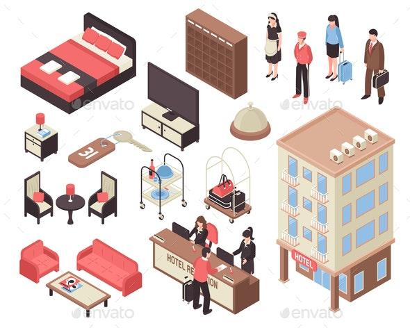 Isometric Hotel Set - Miscellaneous Vectors