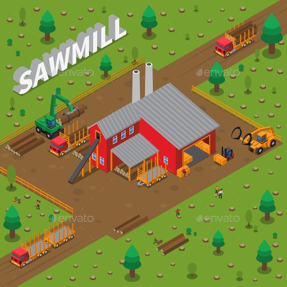 Timber Mill Lumberjack Isometric Composition - Industries Business