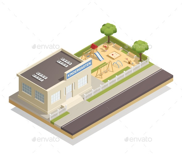Kindergarten With Playground Isometric Illustration - Buildings Objects