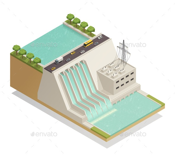Green Energy Hydropower Isometric Composition - Industries Business