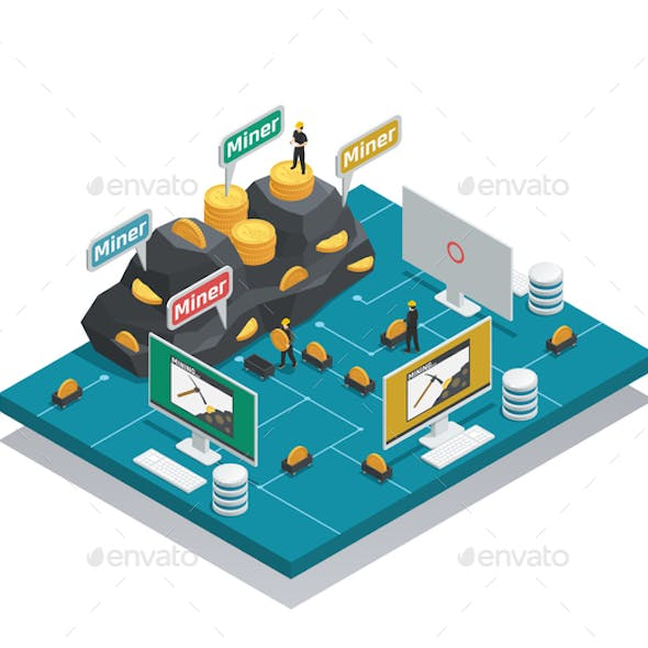 Miners Of Cryptocurrency Isometric Composition