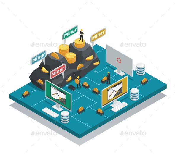 Miners Of Cryptocurrency Isometric Composition - Business Conceptual