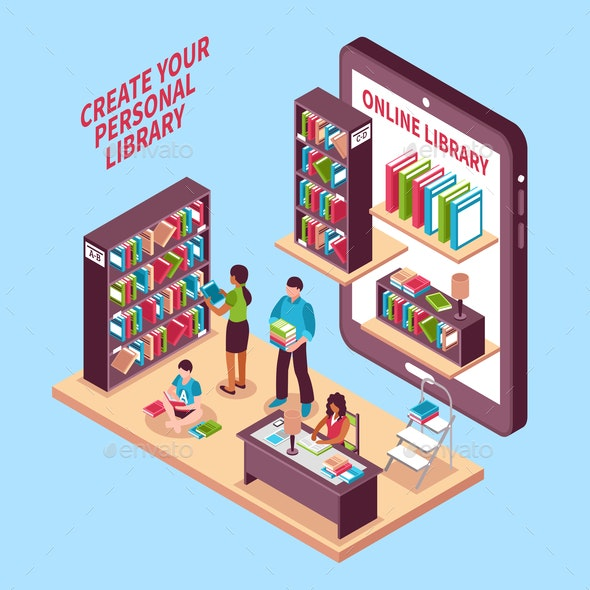 Online Library Isometric Concept - Computers Technology