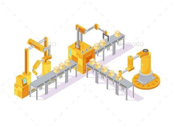 Conveyor Equipment Isometric Composition - Industries Business