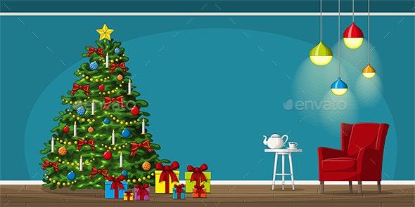 Illustration of Interior Equipment with Christmas Tree - Christmas Seasons/Holidays