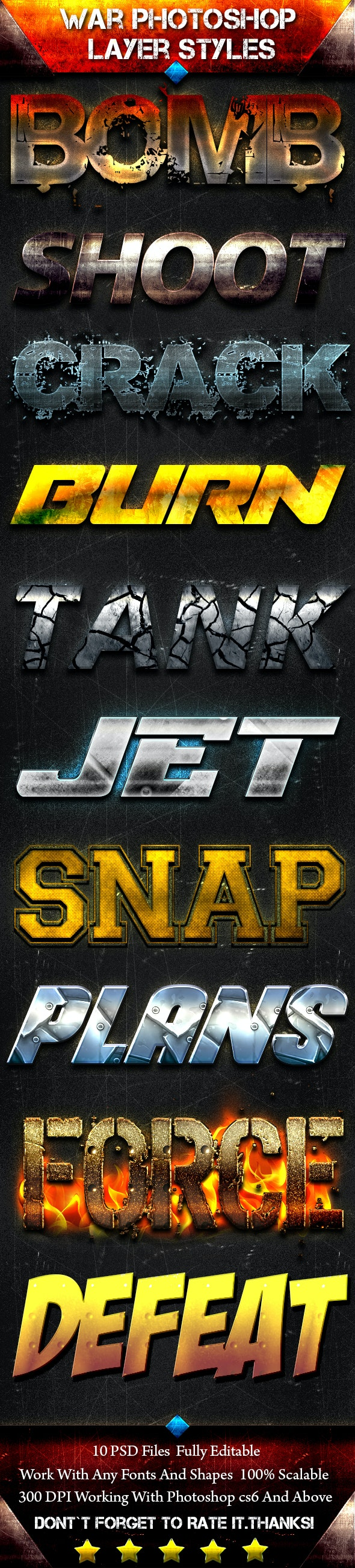 War Photoshop Font Style - Text Effects Styles