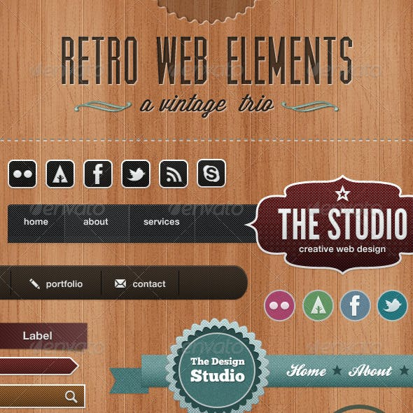 Retro Web Elements - A Vintage Trio