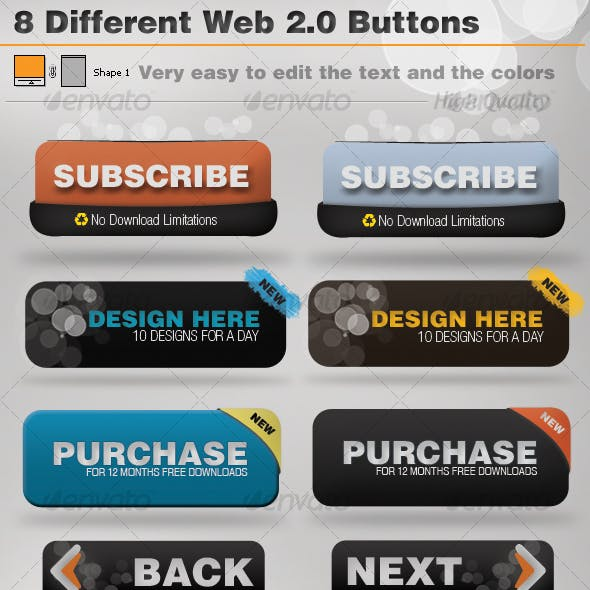 8 Supreme Web 2.0 Buttons
