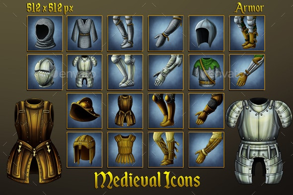 Middle Ages Icons: Armor - Miscellaneous Game Assets