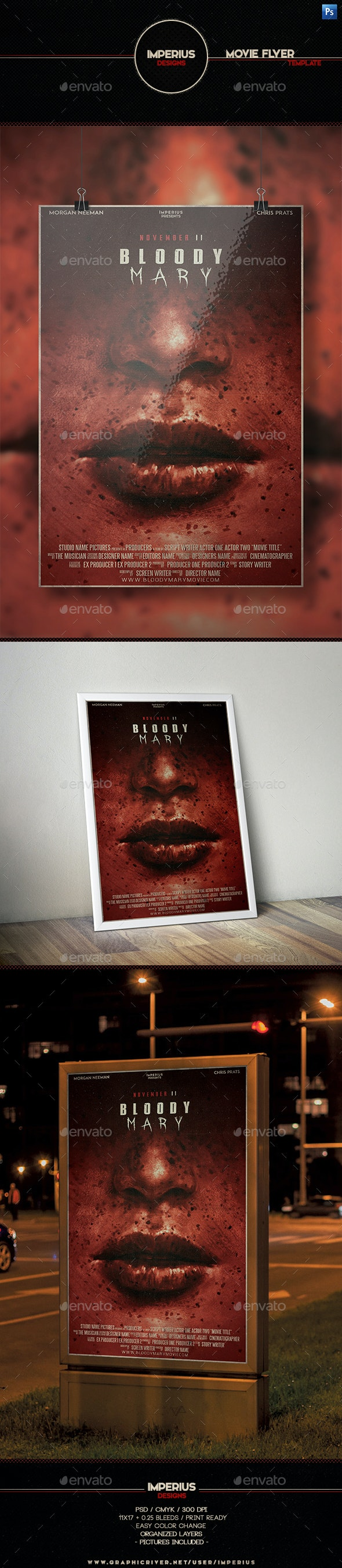 Bloody Mary Movie Flyer - Flyers Print Templates