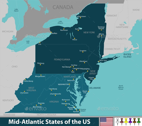 Mid Atlantic States of the United States - Travel Conceptual