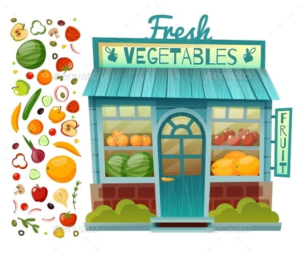 Grocery Shop Facade - Food Objects