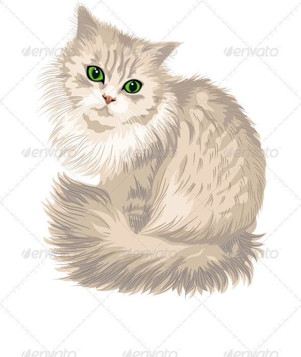Vector Lilac Fluffy Cute Cat with Green Eyes - Animals Characters