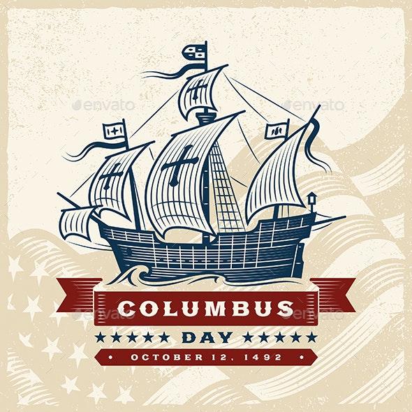 Vintage Columbus Day Label - Miscellaneous Seasons/Holidays