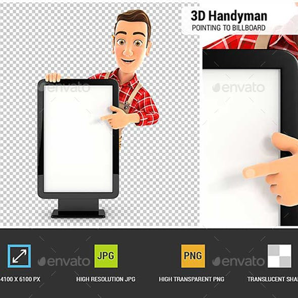 3D Handyman Pointing to Blank Billboard