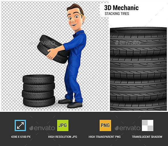 3D Mechanic Stacking Tires - Characters 3D Renders