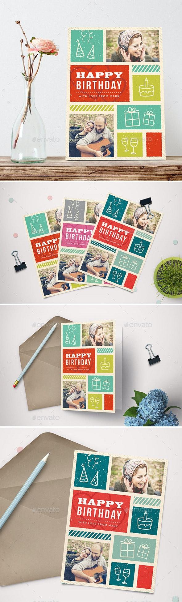 Retro Birthday Greeting Card - Birthday Greeting Cards