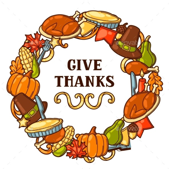 Happy Thanksgiving Day Frame with Holiday Objects - Miscellaneous Seasons/Holidays