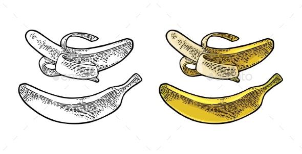 Whole and Half Peeled Banana - Food Objects