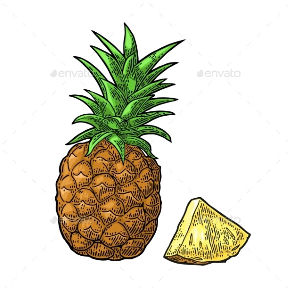 Whole and Sliced Pineapple - Food Objects
