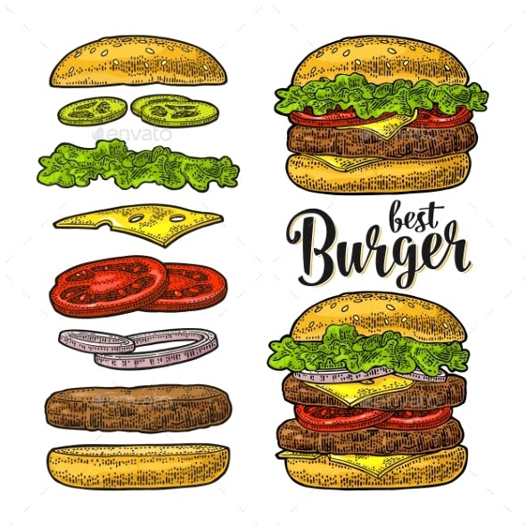 Burger with Flying Ingredients on White Background