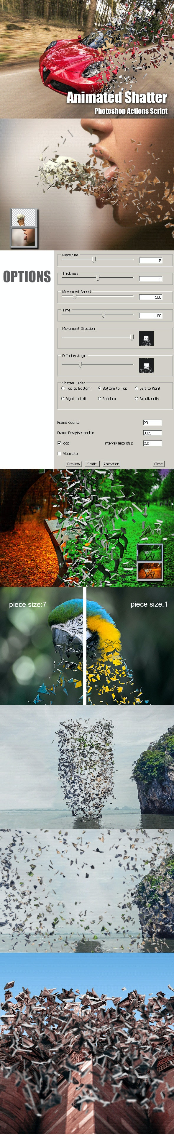 Animated Shatter Photoshop Add-on - Photo Effects Actions