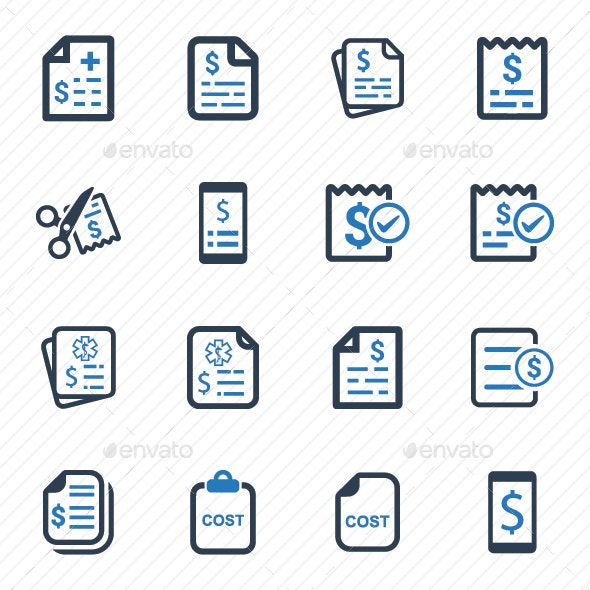 Cost Icons  (Blue Version) - Business Icons