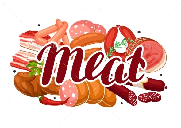 Background with Meat Products - Food Objects